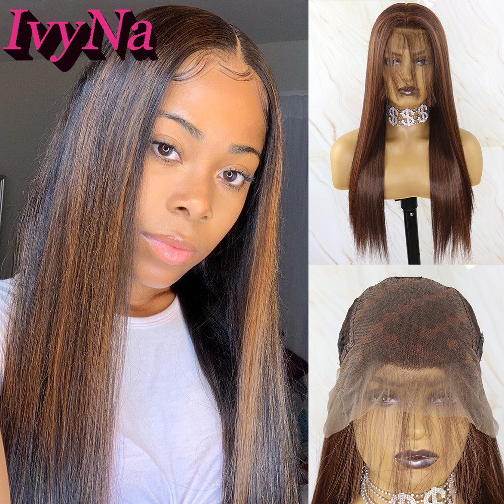 IvyNa Blonde Brown Highlight 13x6 Synthetic Lace Front Wigs For Black Women Futura Heat Resistant Hair Mixed Color Wig Baby Hair