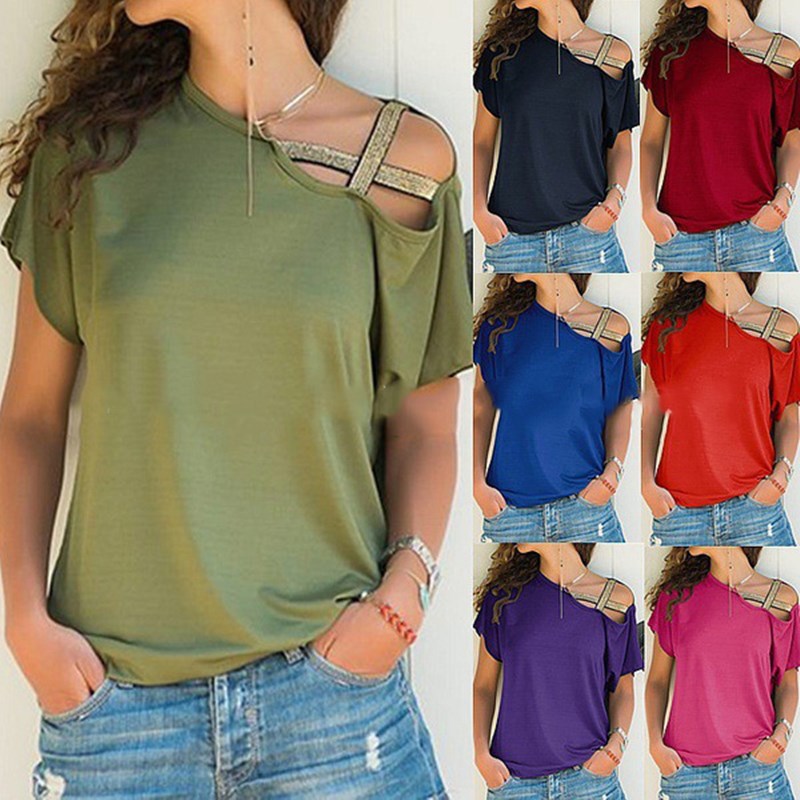 Plus Size Women 2020 Summer T-shirt Criss Cross Short Sleeves Tshirt Sexy One Shoulder Solid Tops Blusa Casual Loose T Shirt Tee