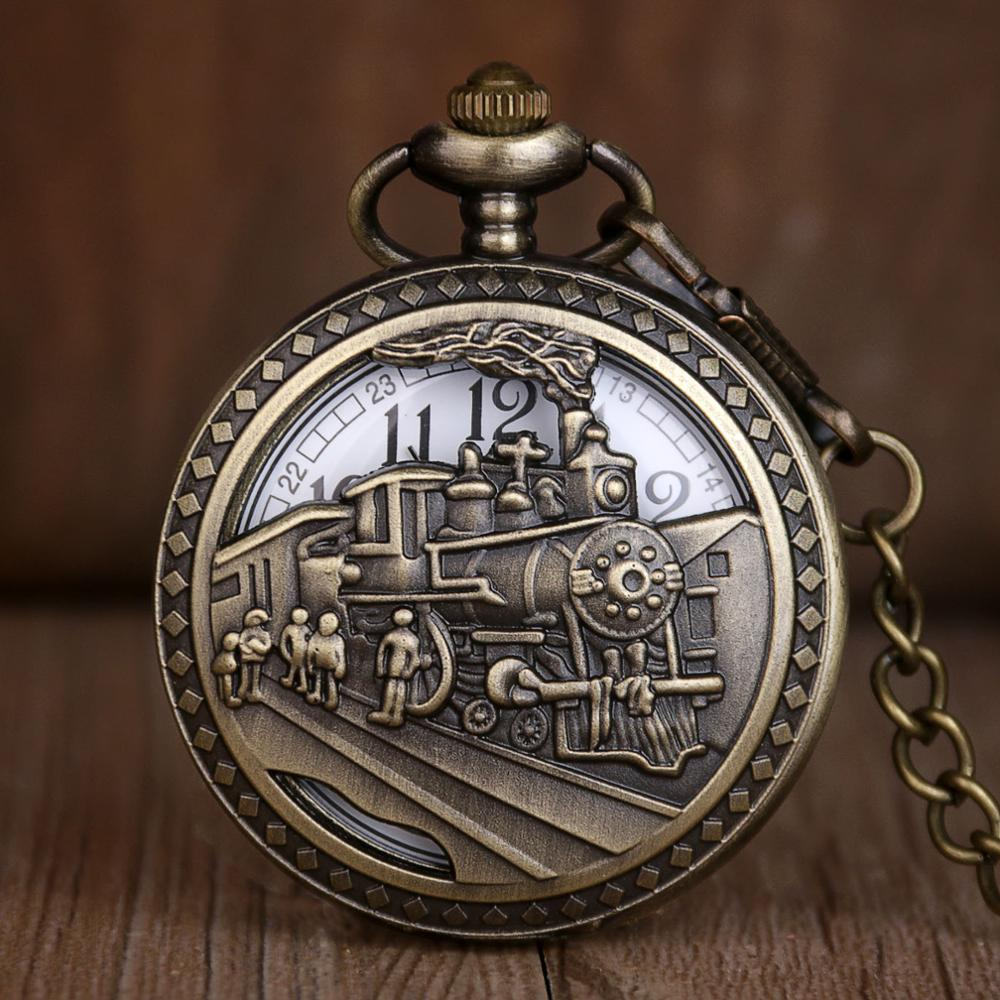 Antique Skeleton Pocket Watches Men Women Fashion Quartz Clock Bronze Train Design Stainless Steel Pocket Watch With Chain