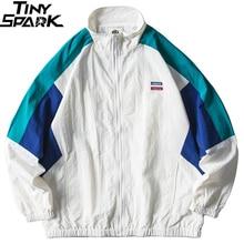 Mens מעיל היפ הופ Streetwear רטרו צבע בלוק טלאי סתיו 2019 מזדמן רוכסן מסלול מעיל מעיל HipHop
