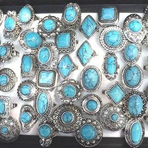 Image 1 - Retro Turquoises แหวนปรับ Bohemian แหวน 50 ชิ้น/ล็อตขายส่ง