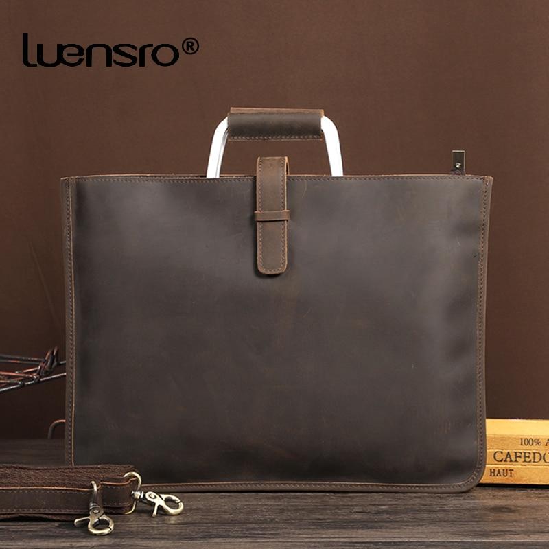Vintage Men Briefcase Crazy Horse Leather Handbag Tote Male Messenger Bags Men Office Bag Portfolio Laptop Briefcase Bag