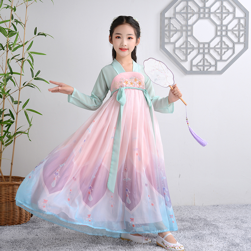 Girl's Embroidery Han Fu Princess Birthday Party Dance Perform Dress For Kids Traditional Children's Long Wedding Evening Dress