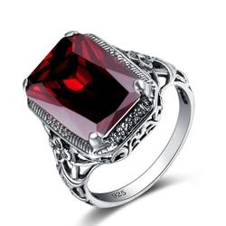Retro tajski srebrny pierścionek koktajlowy spersonalizowany granat kamień kryształ 925 srebro kobiety obrączka elegancka biżuteria w stylu Vintage