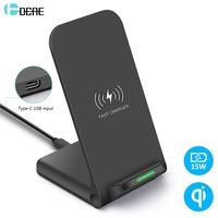 DCAE 15W Wireless Charger Stand USB C 10W Qi QC 3.0 Fast Charging Pad for iPhone 11 Pro Max XS XR X 8 Airpods Samsung S10 S9 S8 Wireless Chargers     -