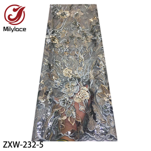 Image 5 - 2019 moda francês tecido de renda com lantejoulas 5 metros tule africano bordado flor tecido renda líquida para o casamento ZXW 232