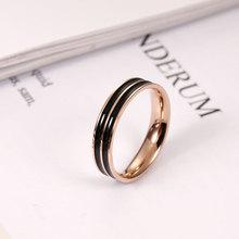 Ailodo Never Fade Titanium Steel Men Women Rings Fashion Black Enameled Rose Gold Color Finger 2019 New Jewelry LD323
