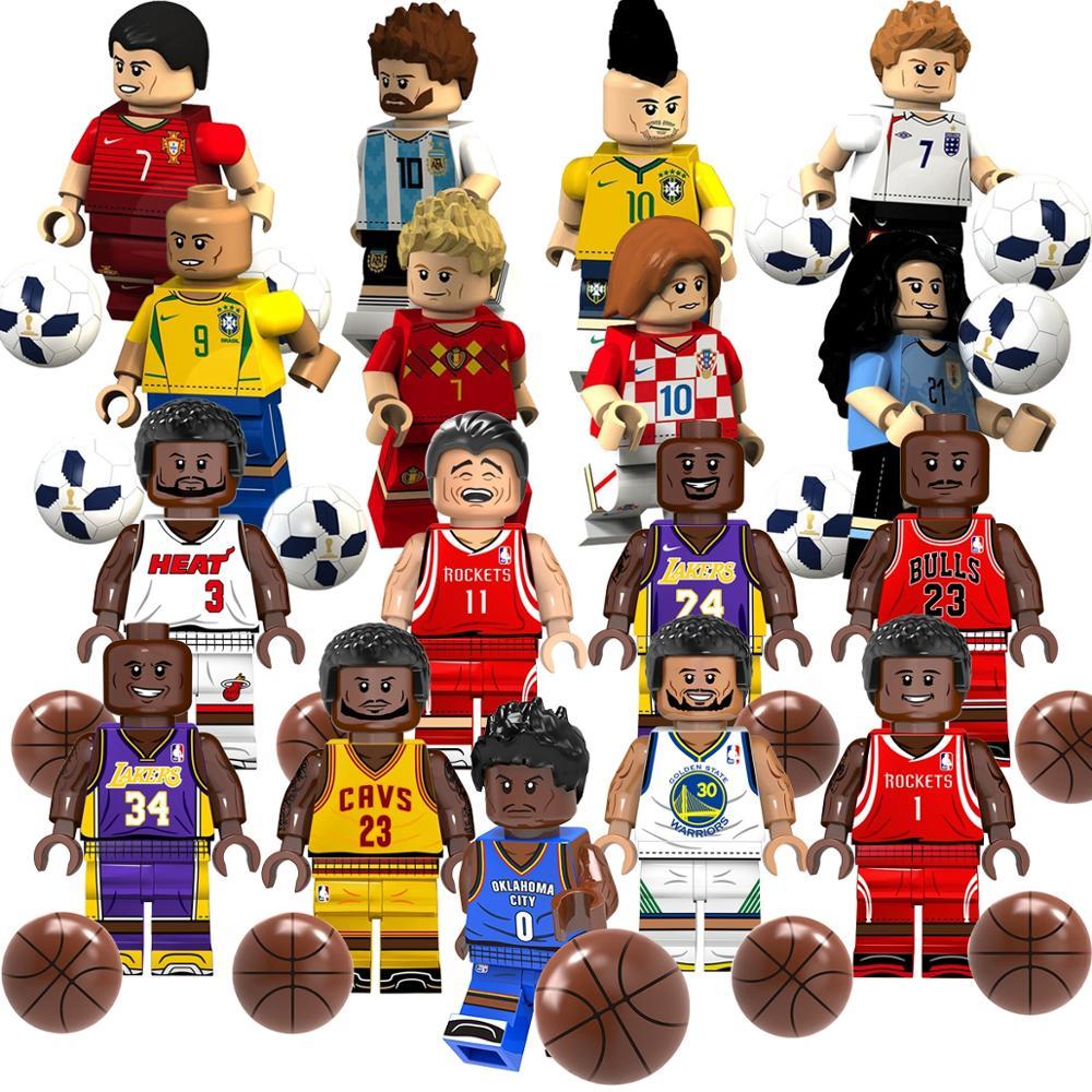 Basketball Super Stars Curry James Kobe Wade O'Neal Westbrook Jordan  Legoed Building Block Bricks  Minifigured Toys