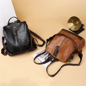 Image 3 - 3 في 1 الرجعية على ظهره النساء بولي Leather الجلود الحقائب المدرسية Teenage مكافحة سرقة السيدات حقائب كتف حقيبة السفر بسيطة