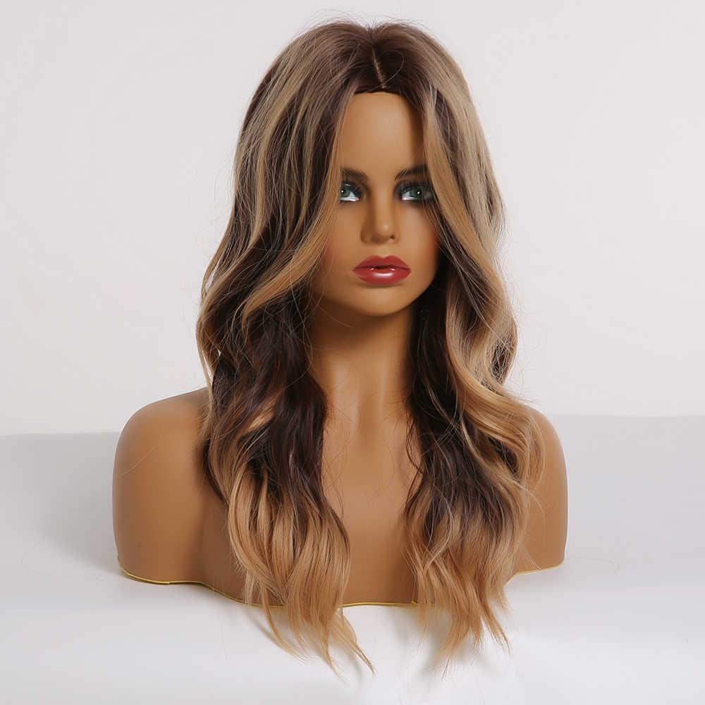 LOUIS FERRE Medium Sintetis Wig Berombak Ombre Hitam Coklat Teguran dengan Lampu Brwon Cuplikan Wanita Bagian Tengah Tahan Panas Serat