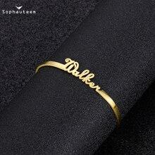 Индивидуальные имя браслет шарм браслет для женщин регулируемые ожерелья инициалы буквы именная табличка браслеты манжеты браслеты ювелирные изделия