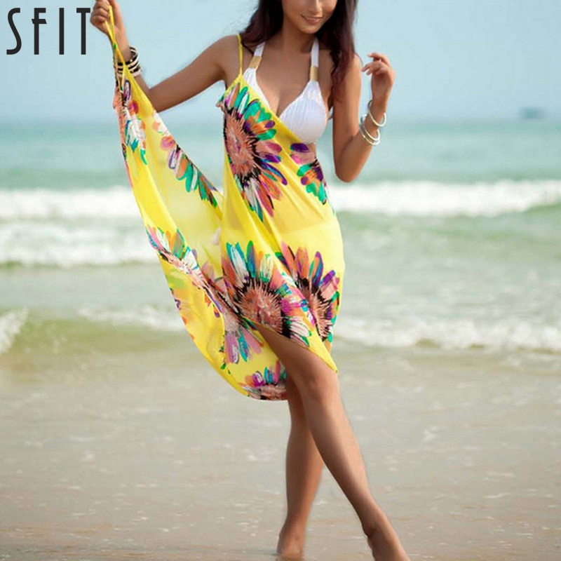 Sfit 2019 New Women Halter Lightweight Chiffon Floral Print Beach Cover Up Towel Silk Sling Beach Bikini Open-Back Beach Dress