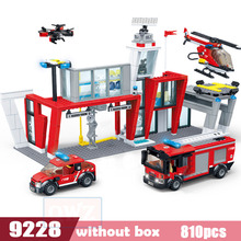 Fire Station Ambulance Plane Car Building Blocks Bricks Assembled Educational Leloingly Toys For Children Compatible Brinquedos