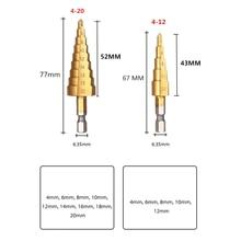 Hss step drill bit set cone hole cutter Taper metric 4 - 12 / 20mm 1 / 4