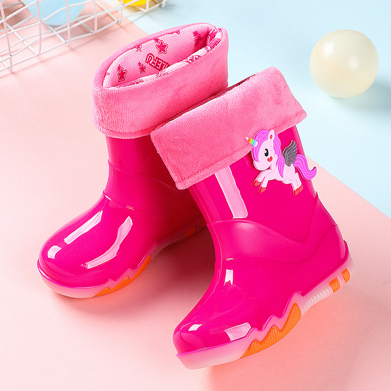 New Kids Rain Boots Boys Rubber Boots Children Rainboots Cartoon Pink Unicorn/dinosaur Girls Water Shoes Four Seasons Removable