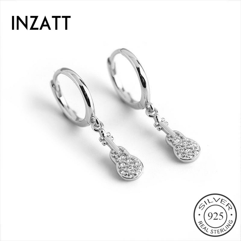 INZATT Real 925 Sterling Silver Zircon Guitar Minimalist Hoop Earrings For Fashion Women Party Fine Jewelry Cute Accessories