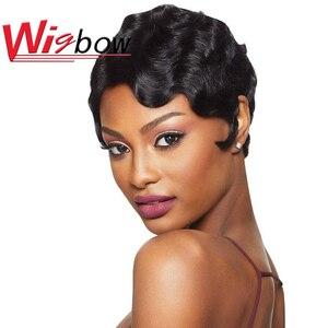 Pixie corte peruca natural cachos perucas de cabelo humano curto para as mulheres peruca brasileira ombre cor p4/30 p1b/bug 150 densidade peruca colorida
