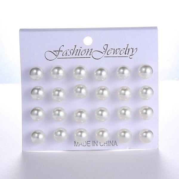 12 Pairs/set Stud Earrings Set With Card Transparent Zircon Balls Love Flowers Earrings Women Imulated Pearl Earrings Jewelry 35