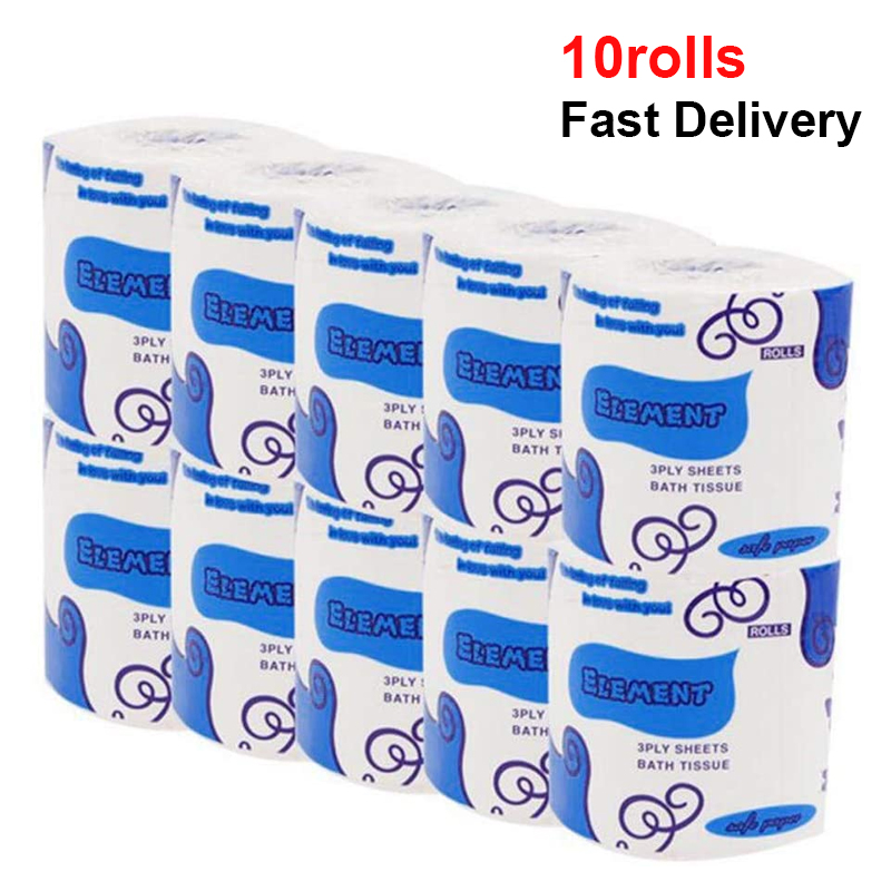 10 Rolls Silky & Smooth Soft 3-Ply Toilet Paper Home Kitchen Toilet Tissue Soft Strong And Highly Absorbent Hand Towels