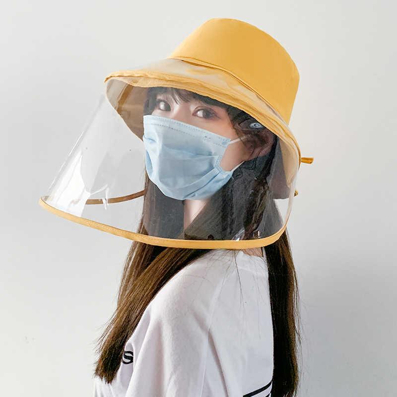 안티-안개 파나마 모자 남여 여름 안티 타액 양동이 모자 큰 가장자리 투명 TPU 보호 이동식 어부 모자 일 모자