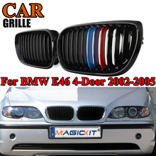 цена на MagicKit NEW Pair Gloss Black M-Color Car Front Kidney Racing Grill Grilles For BMW E46 3 Series 4 Door Sedan 2002-2005 Facelift