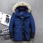 2019 chaqueta de plumón para hombre abrigo de invierno largo parkas blancas plumón abrigos de piel con capucha gruesa caliente chándal para correr prendas de vestir exteriores para hombre - 2