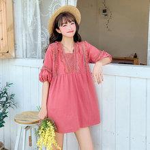 Bohemia Style Women Chic Pink Peplum Blouses Loose Fitting Cotton Ethnic Tops Short Sleeve Tassels Hem Design Blouse Big Yards