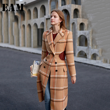 Temperament Woolen Coat Spring Plaid Women EAM Long-Sleeve Autumn Fashion New Fit Loose