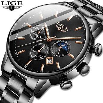 LIGE-reloj deportivo de cuarzo para hombre, de negocios, resistente al agua, Masculino,...