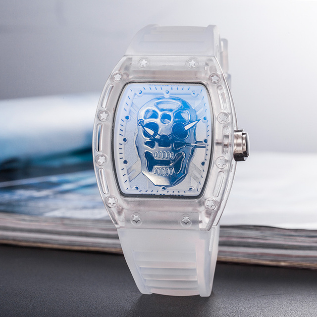 NEW Top Brand Puerto Rico Popular Luxury man Quartz Date Watch Transparent Silica Gel Strap  Ghost head Wristwatch | Fotoflaco.net