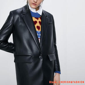 Suit Coat Blazers Jacket Faux-Leather PU Women's Outerwear Female Ladies Loose Brand-New
