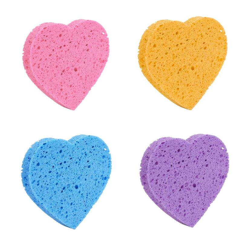 1pcs High Quality Face Washing Product Natural Wood Fiber Face Wash Cleansing Heart Shaped Wood Pulp Sponge Beauty Makeup Tools