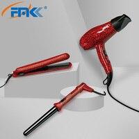 FMK 3 in 1 헤어 드라이어 플랫 아이언 및 블로우 드라이어 세트 레오파드 전문 헤어 스트레이트 너 컬링 아이언 블로우 드라이어 스타일링 도구