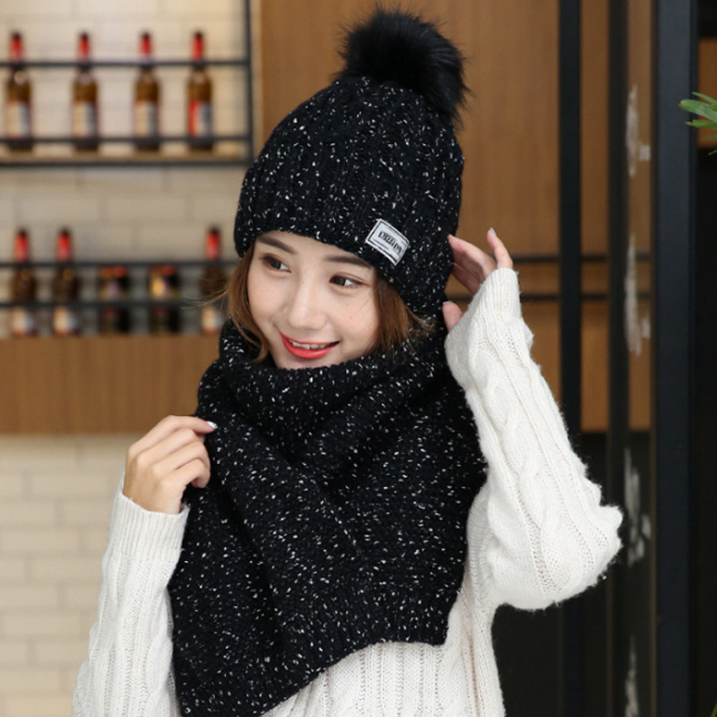 New Fur Pompom Knitted Hat Scarf Winter Warm Children Hat Scarf for Girls Boys Two