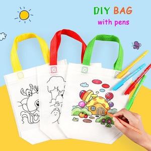 20PCS/lot Graffiti Bag DIY Handmade Painting Puzzles for Children Arts Crafts Color Filling Drawing Toy Kindergarten Handbags