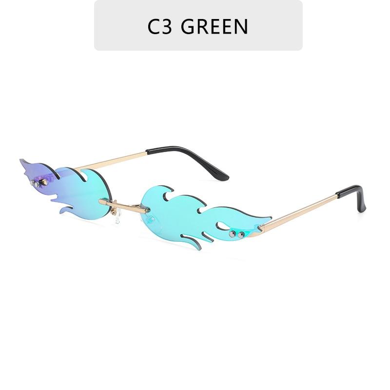 Luxury Fashion Fire Flame Sunglasses Women  Rimless Wave Sun Glasses Metal Shades For Vintage Women Mirror Eyewear UV400 10