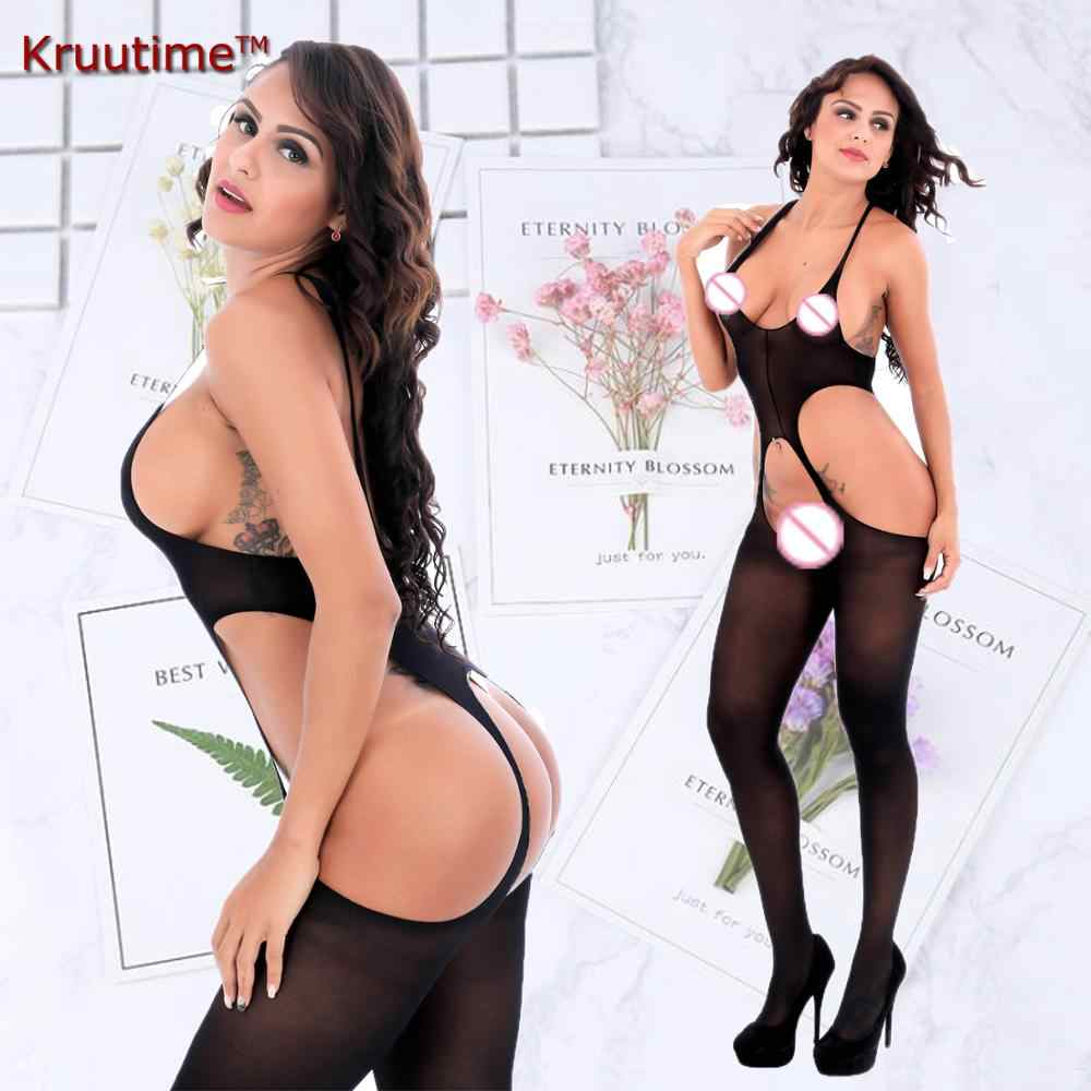 Very high elastic Spandex sexy transparent corset black bodysuits seducive lingerie