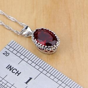 Image 3 - Naturalne 925 srebro biżuteria czerwony Birthstone Charm zestawy biżuterii kobiety kolczyki/wisiorek/naszyjnik/pierścień/bransoletki T055