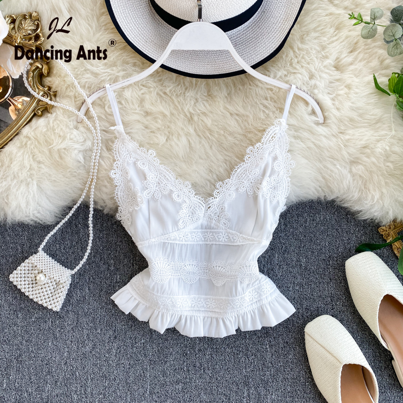 Women Lace Vest Sexy Strap Backless V-Neck Slim Top Elastic Waist Elegant Short Tank Tops 2020 Fashion Sweet Girl