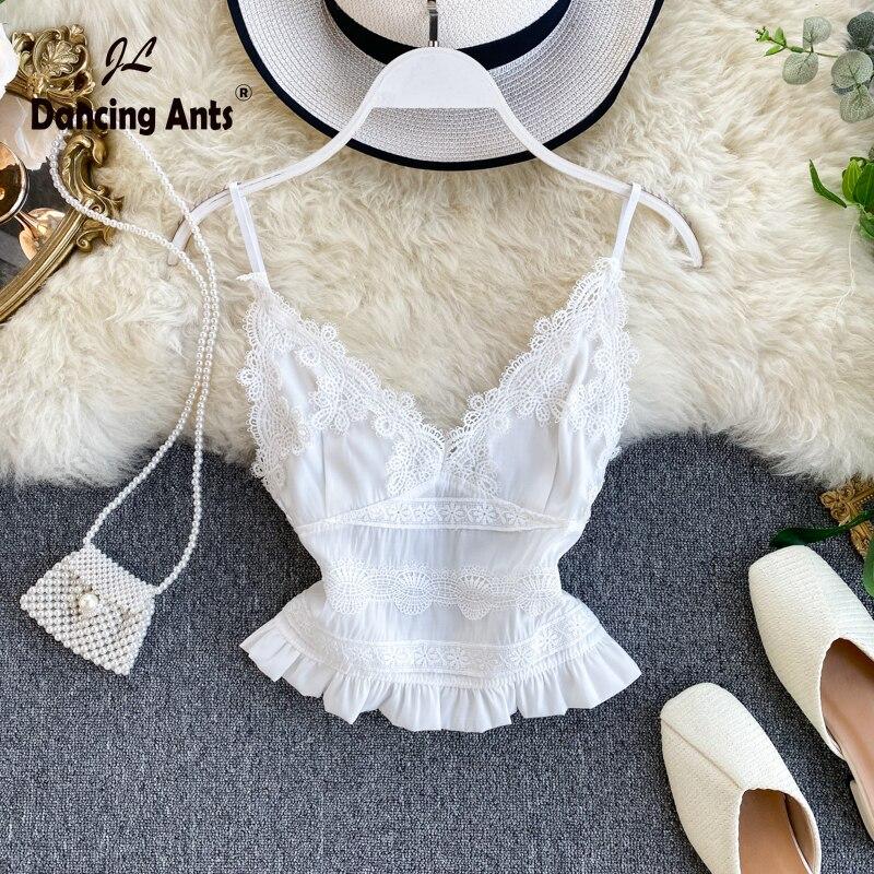 Women Lace Vest Sexy Strap Backless V-Neck Slim Top Elastic Waist Elegant Short Tank Tops 2020 Fashion Sweet Girl