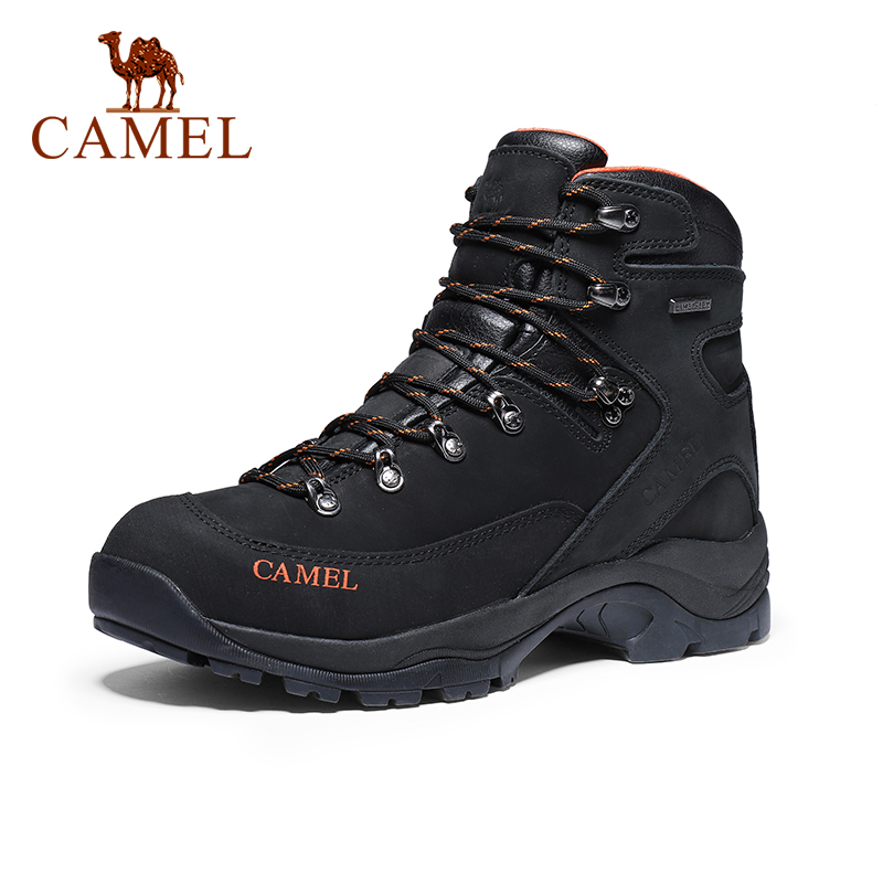 CAMEL Men Hiking Shoes Climbing Trekking Boots Outdoor Shoes Anti-slip Genuine Leather Damping Tactical Warm Boots Shoes