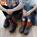 Xiaomi Aishoes/домашние пробковые тапочки; сезон осень-зима; шерстяная обувь из пробкового дерева; теплая шерстяная войлочная нескользящая обувь ...
