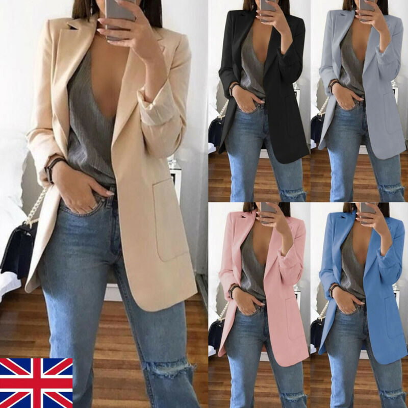Women Fashion Warm Slim Fit Formal Blazer Long Suit Coats Work Outwear Jackets