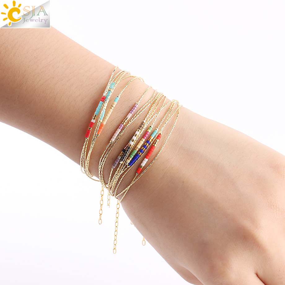 CSJA Pulseras Miyuki Bracelets for Women Beads Bracelet 2-layer Cute Mini Delica Jewelry Adjustable Gold Color Link Chain S187