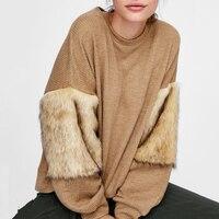 Autumn Winter 2019 Women's Oversize Streetwear Warm Sweatshirts Fur Spliced Long Sleeve Harajuku Pullover Knitted Sweatshirts