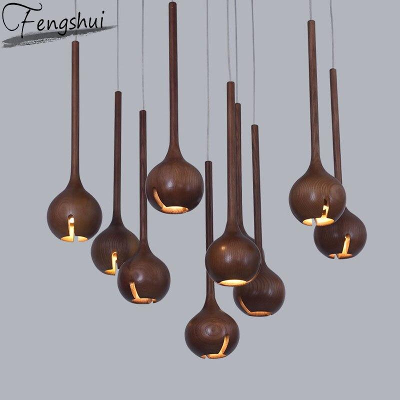 Chinese Style Wood LED Pendant Lights Lighting Modern Indoor Decor Pendant Lamp Restaurant Living Room Kitchen Light Fixtures