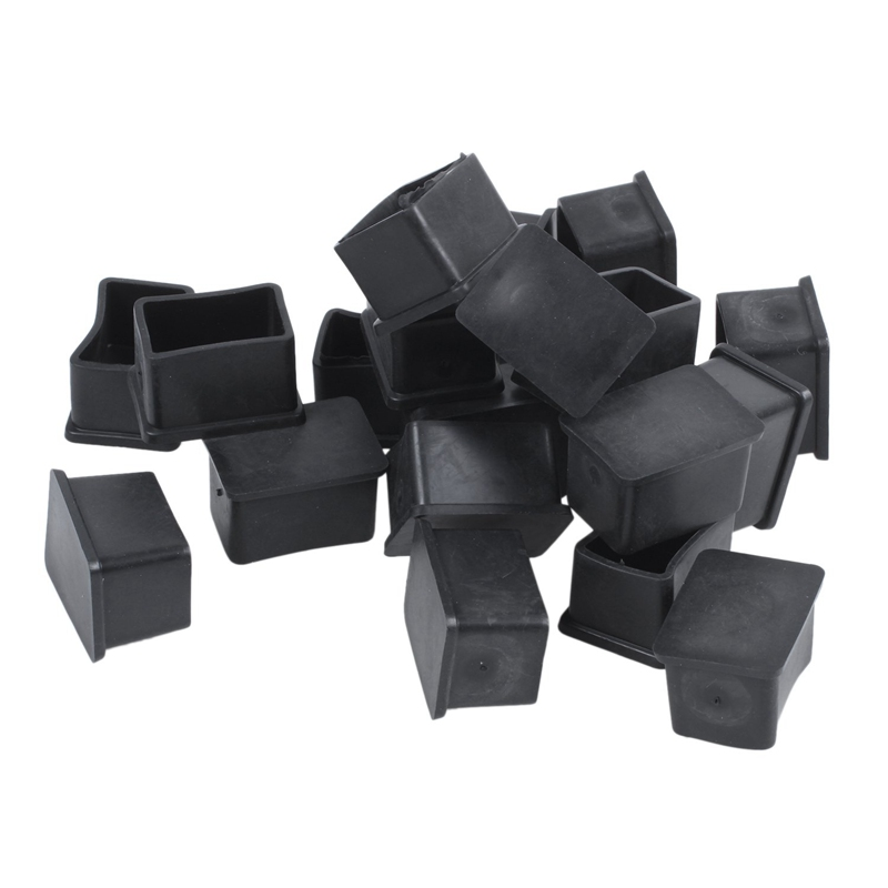 Rubber PVC Covers Chair Leg Protector End Caps 20mmx30mm 20Pcs Black