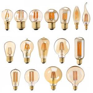 Image 1 - E27 żarówka LED ściemniająca żarówka E14 220V złota 1W 3W 4W 6W 8W E12 E26 110V Edison Retro żarówka LED 2200K G40 żarówka