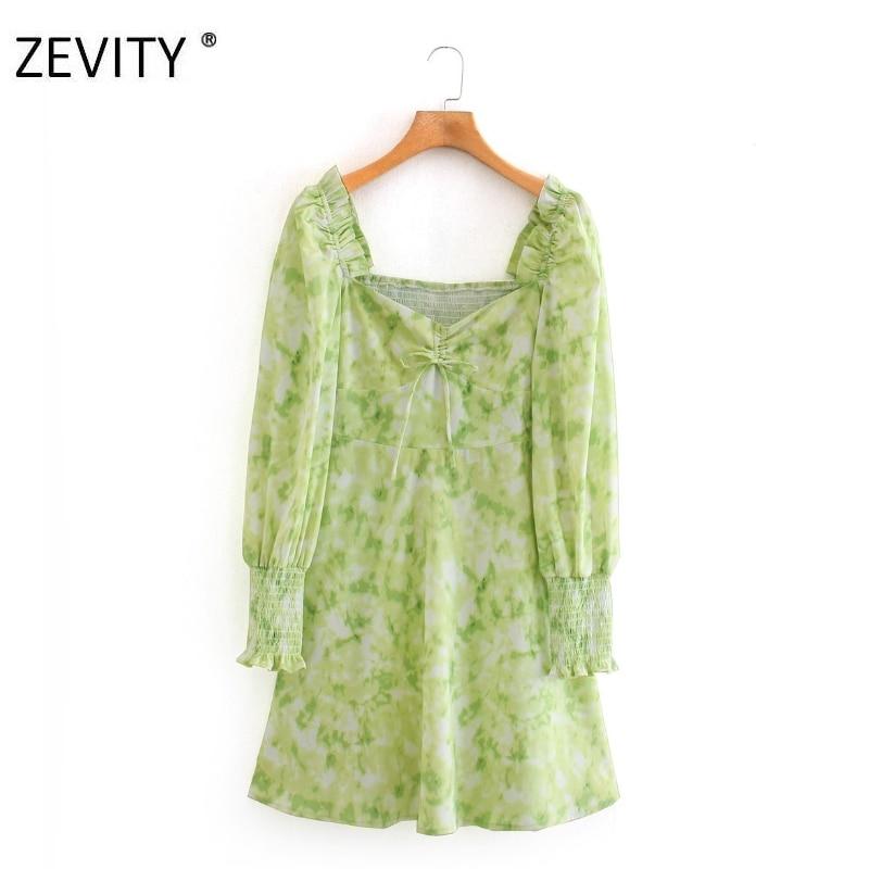 Zevity Women vintage elastic ruffles tie dyed print a line mini dress lady puff sleeve side zipper vestidos party Dresses DS4198