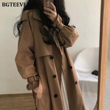 Gabardina larga informal con cinturón para mujer, abrigo holgado con doble botonadura para invierno